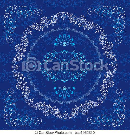 decorativo, floreale, cornice, elementi, disegno - csp1962810