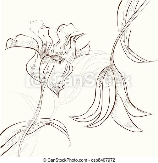 decorativo, floreale, fondo - csp8407972