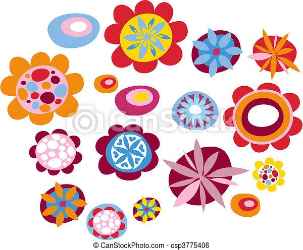 decorativo, flores - csp3775406
