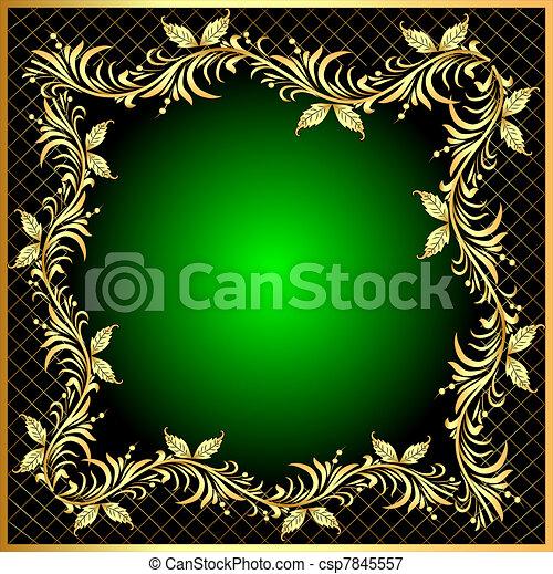 decorativo, gold(en), padrão, quadro, fundo, rede - csp7845557