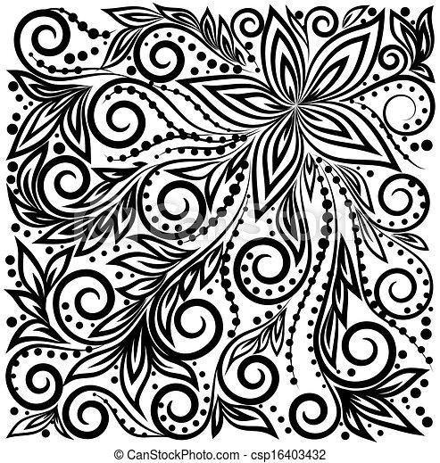 Decorativo Grafico Rizado Hojas Pattern Plano De Fondo Flores