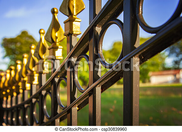 Una cerca de hierro fundido decorativo - csp30839960
