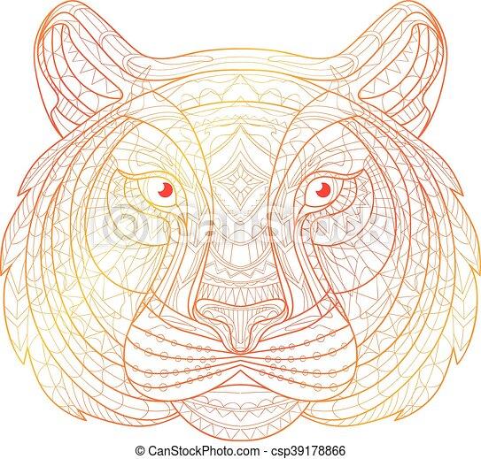 Decorativo, illustration., garabato, tribal, étnico, tótem, mano ...