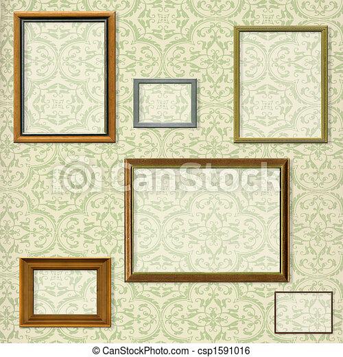decorativo, immagine, ritaglio, selezione, percorsi, vendemmia, cornice, contro, fondo - csp1591016