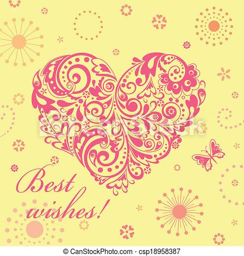 Linda tarjeta de felicitación con un corazón floral - csp18958387