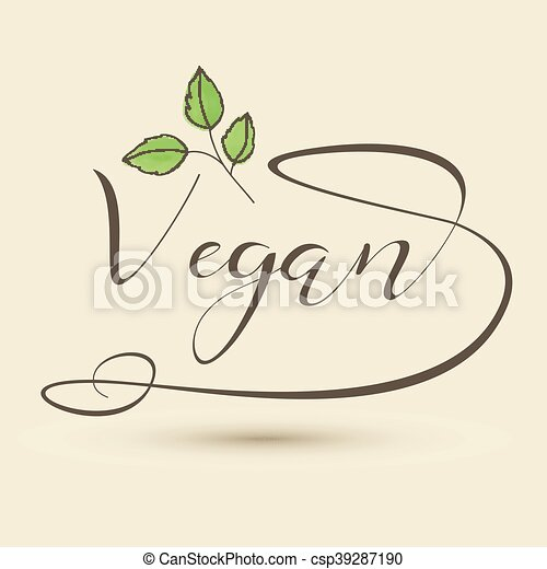 decorativo, logotipo, tipo, vegan - csp39287190