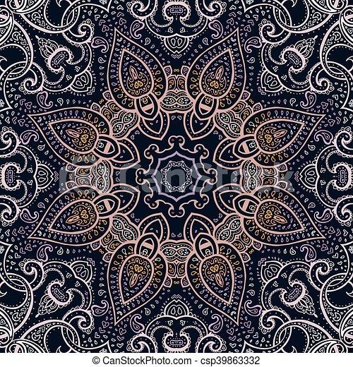 decorativo, mandala., indio, pattern. - csp39863332