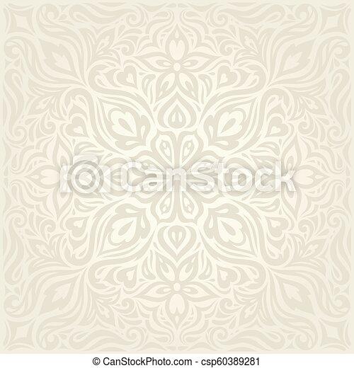 decorativo, mandala, vendemmia, bege, ecru, fondo, matrimonio, floreale, fiori - csp60389281