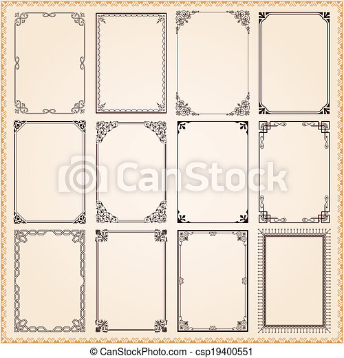 Marcos de decoración y fronteras establecidos - csp19400551