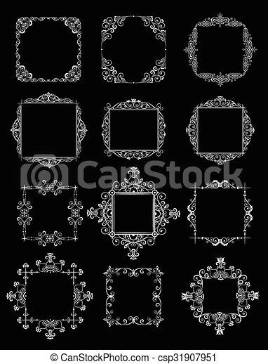 Decorativo, marcos, white), boda, (black.