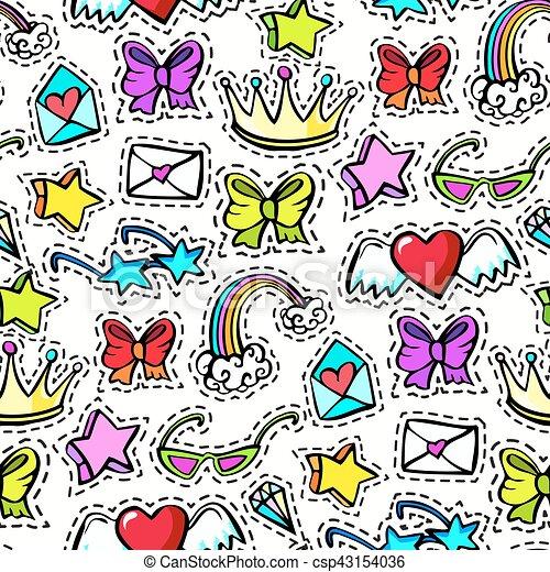 decorativo, moda, emblemas, remendo - csp43154036