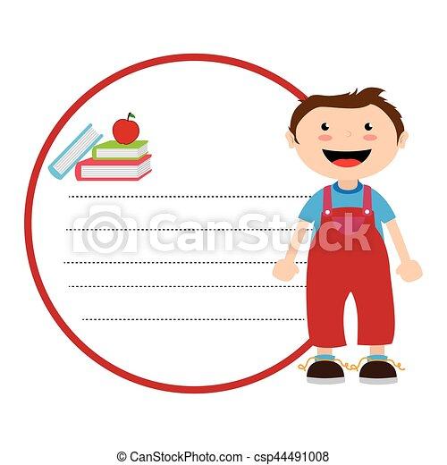 Decorativo, niño, silueta, color, libros, hoja, caucásico ...