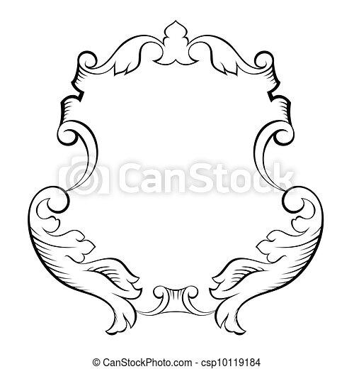 decorativo, ornamental, barroco, quadro, arquitetônico - csp10119184