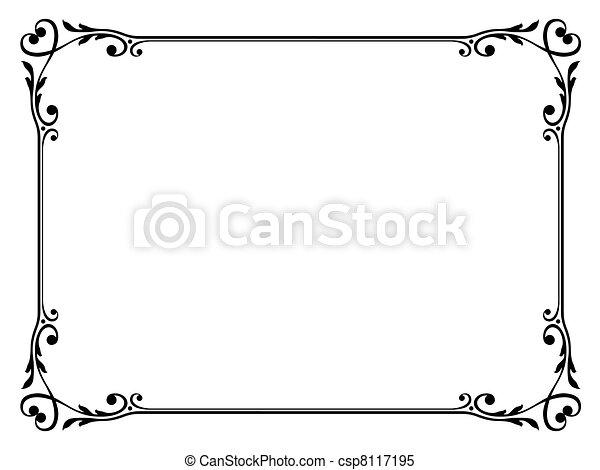 decorativo, ornamental, quadro, caligrafia, coração - csp8117195