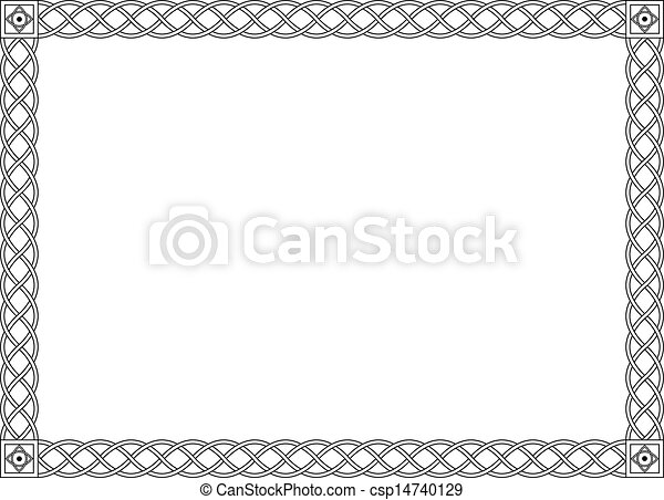 Un simple marco decorativo ornamental negro gótico - csp14740129