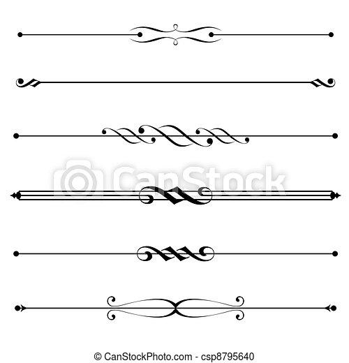 decorativo, reglas, frontera, elementos, página - csp8795640