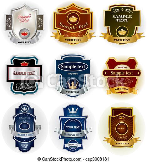 decorativo, set, collezione, vettore, etichette - csp3008181