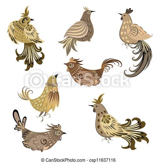 decorativo, set, uccello - csp11637116