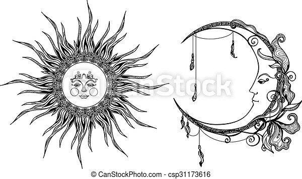 Decorativo Sol Luna Decorativo Cara Sol Aislado Ilustración