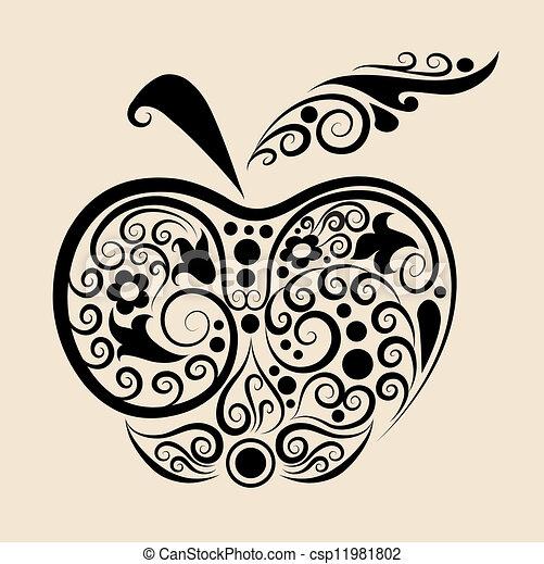 vector de manzana decorativa - csp11981802