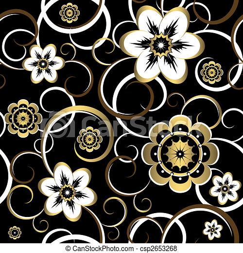 Patrón negro decorativo floral sin mar (vector) - csp2653268
