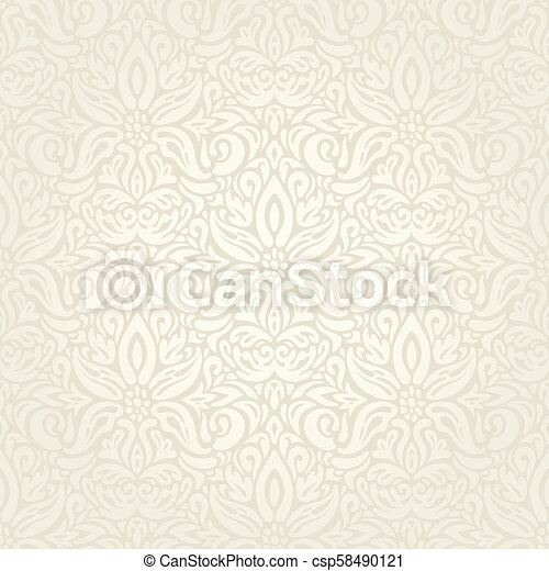 decorativo, vendemmia, bege, ecru, fondo, matrimonio, floreale - csp58490121