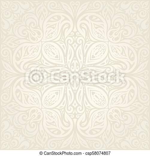 decorativo, vendemmia, bege, ecru, fondo, matrimonio, floreale, mandala - csp58074807