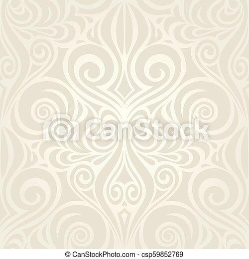 decorativo, vendemmia, bege, ecru, fondo, matrimonio, floreale - csp59852769