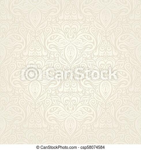 decorativo, vendemmia, bege, ecru, fondo, matrimonio, floreale - csp58074584