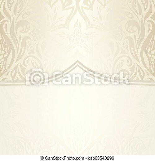 decorativo, vendemmia, ecru, fondo, matrimonio, floreale, pallido - csp63540296