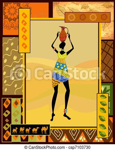 decorativo, vestido, menina, africano - csp7103730