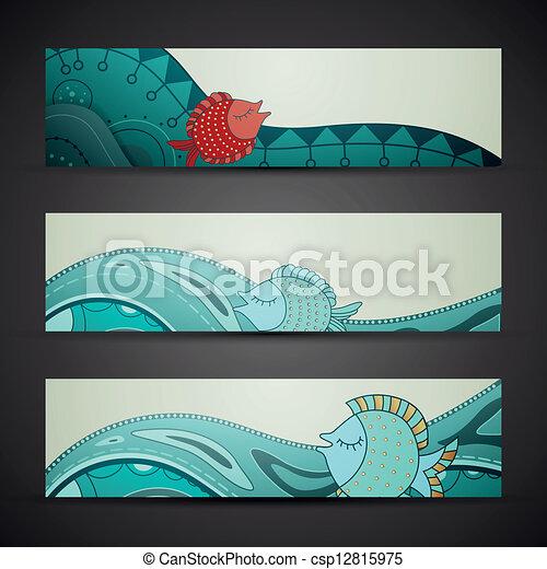 decorativo, vetorial, bandeiras - csp12815975