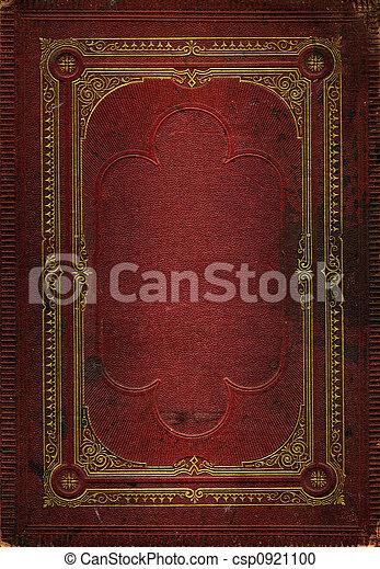 decorativo, viejo, oro, cuero, marco, textura, rojo - csp0921100