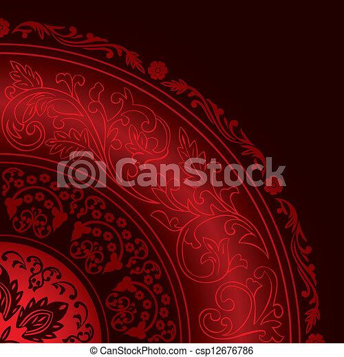 decorativo, vindima, quadro, padrões, redondo, vermelho - csp12676786