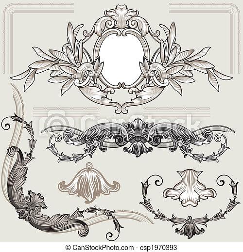 decorazione, floreale, set, elementi, classico - csp1970393