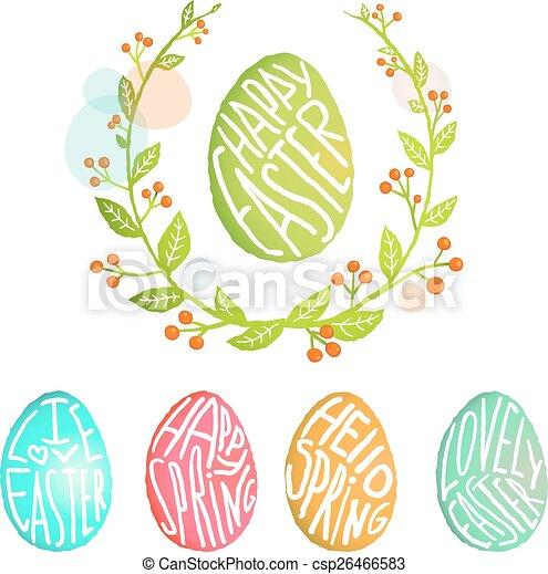 decorazione, stile, uova, collezione, acquarello, fiori, pasqua - csp26466583