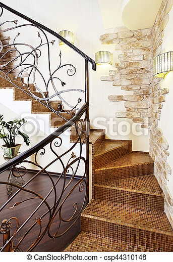 Decors, décoratif, classique, couloir, rampe, escalier,... photo ...