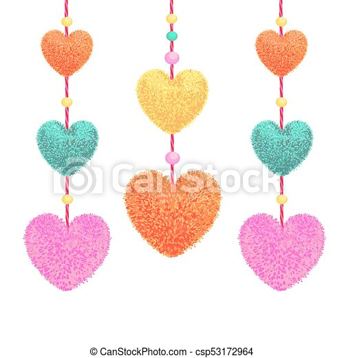 vector colorful illustration of decortive elements with clip art rh canstockphoto com clipart images of pom poms free clipart cheerleader pom poms