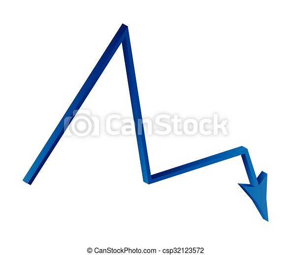 Decrease Arrow Symbol Blue Icon Business Concept Vector