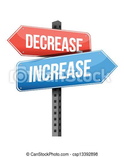 decrease, increase road sign - csp13392898