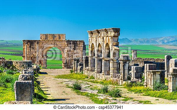 Decumanus Maximus The Main Street Of Volubilis An Ancient Roman