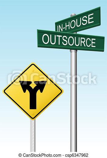 decyzja, dostarczać, outsourcing, handlowy, znaki - csp6347962