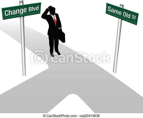 decyzja, tak samo, osoba, typować, albo, zmiana - csp20415638