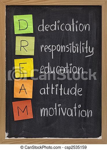 dedicación, actitud, educación, responsabilidad, motivación - csp2535159
