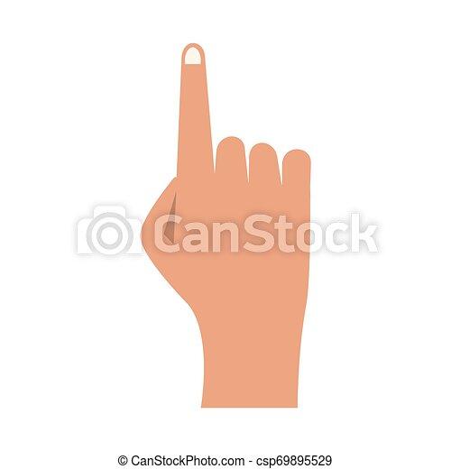 Mano con dedo en la caricatura aislada - csp69895529