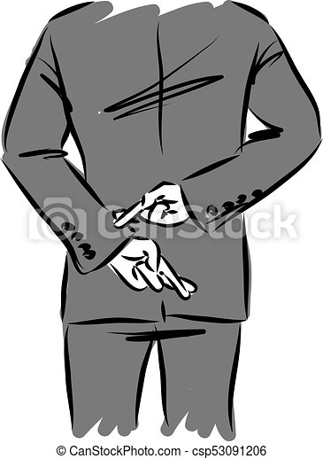 Dedos Ilustracin Espalda Vector Cruce Hombre De Negocios