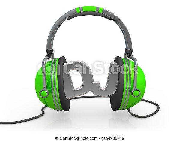Deejay 3d Headphones With The Word Dj Between Them