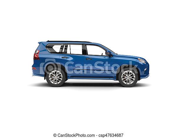 Deep blue modern SUV - side view - csp47634687