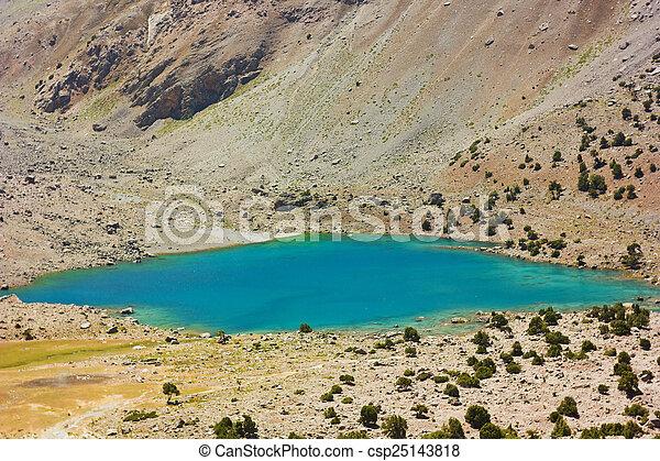 deep blue mountain lake - csp25143818