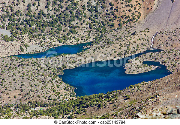 deep blue mountain lake - csp25143794